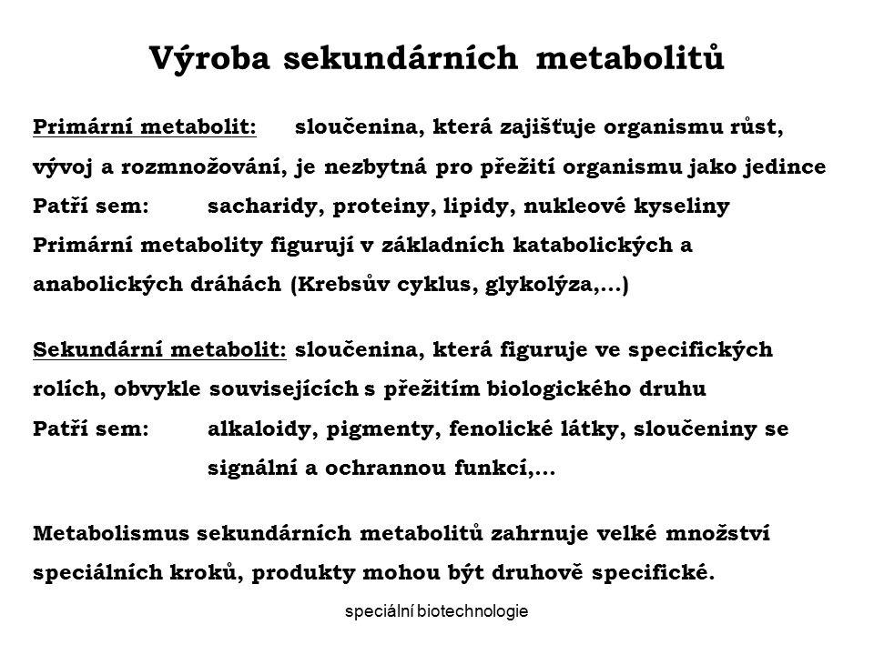Výroba sekundárních metabolitů speciální biotechnologie Primární metabolit:sloučenina, která zajišťuje organismu růst, vývoj a rozmnožování, je nezbytná pro přežití organismu jako jedince Patří sem:sacharidy, proteiny, lipidy, nukleové kyseliny Primární metabolity figurují v základních katabolických a anabolických dráhách (Krebsův cyklus, glykolýza,…) Sekundární metabolit:sloučenina, která figuruje ve specifických rolích, obvykle souvisejících s přežitím biologického druhu Patří sem:alkaloidy, pigmenty, fenolické látky, sloučeniny se signální a ochrannou funkcí,… Metabolismus sekundárních metabolitů zahrnuje velké množství speciálních kroků, produkty mohou být druhově specifické.
