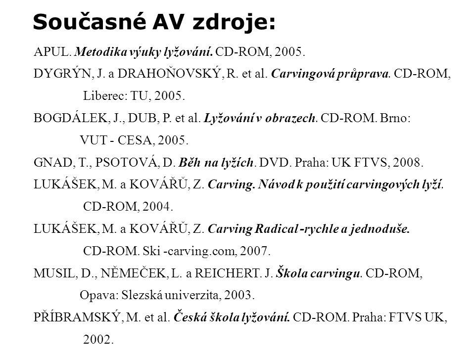 APUL. Metodika výuky lyžování. CD-ROM, 2005. DYGRÝN, J.