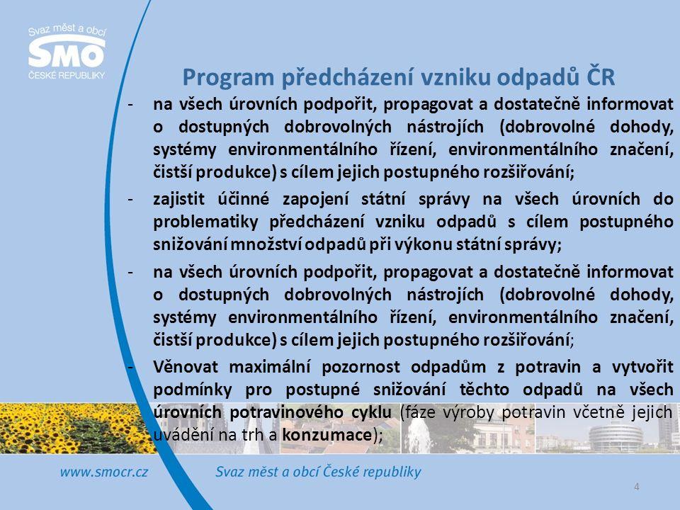 Program předcházení vzniku odpadů ČR -na všech úrovních podpořit, propagovat a dostatečně informovat o dostupných dobrovolných nástrojích (dobrovolné dohody, systémy environmentálního řízení, environmentálního značení, čistší produkce) s cílem jejich postupného rozšiřování; -zajistit účinné zapojení státní správy na všech úrovních do problematiky předcházení vzniku odpadů s cílem postupného snižování množství odpadů při výkonu státní správy; -na všech úrovních podpořit, propagovat a dostatečně informovat o dostupných dobrovolných nástrojích (dobrovolné dohody, systémy environmentálního řízení, environmentálního značení, čistší produkce) s cílem jejich postupného rozšiřování; -Věnovat maximální pozornost odpadům z potravin a vytvořit podmínky pro postupné snižování těchto odpadů na všech úrovních potravinového cyklu (fáze výroby potravin včetně jejich uvádění na trh a konzumace); 4