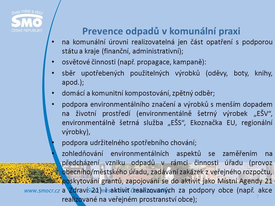 Prevence odpadů v komunální praxi na komunální úrovni realizovatelná jen část opatření s podporou státu a kraje (finanční, administrativní); osvětové činnosti (např.
