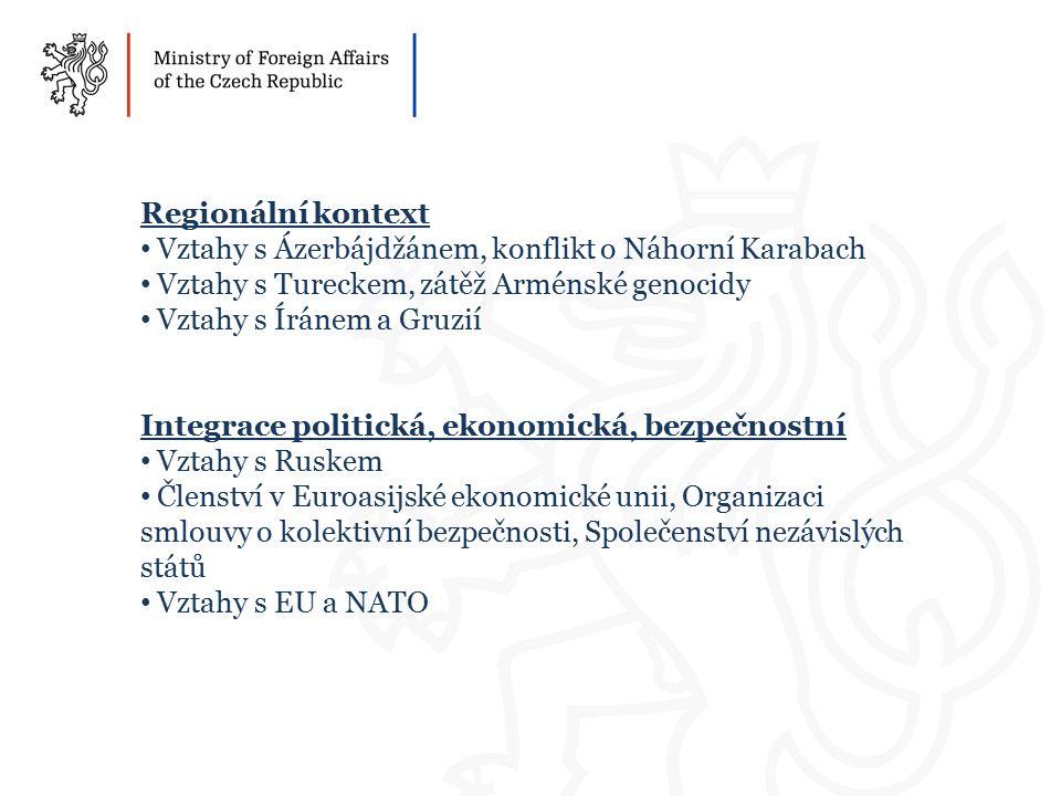 Regionální kontext Vztahy s Ázerbájdžánem, konflikt o Náhorní Karabach Vztahy s Tureckem, zátěž Arménské genocidy Vztahy s Íránem a Gruzií Integrace politická, ekonomická, bezpečnostní Vztahy s Ruskem Členství v Euroasijské ekonomické unii, Organizaci smlouvy o kolektivní bezpečnosti, Společenství nezávislých států Vztahy s EU a NATO