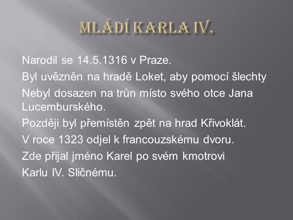 Narodil se 14.5.1316 v Praze.