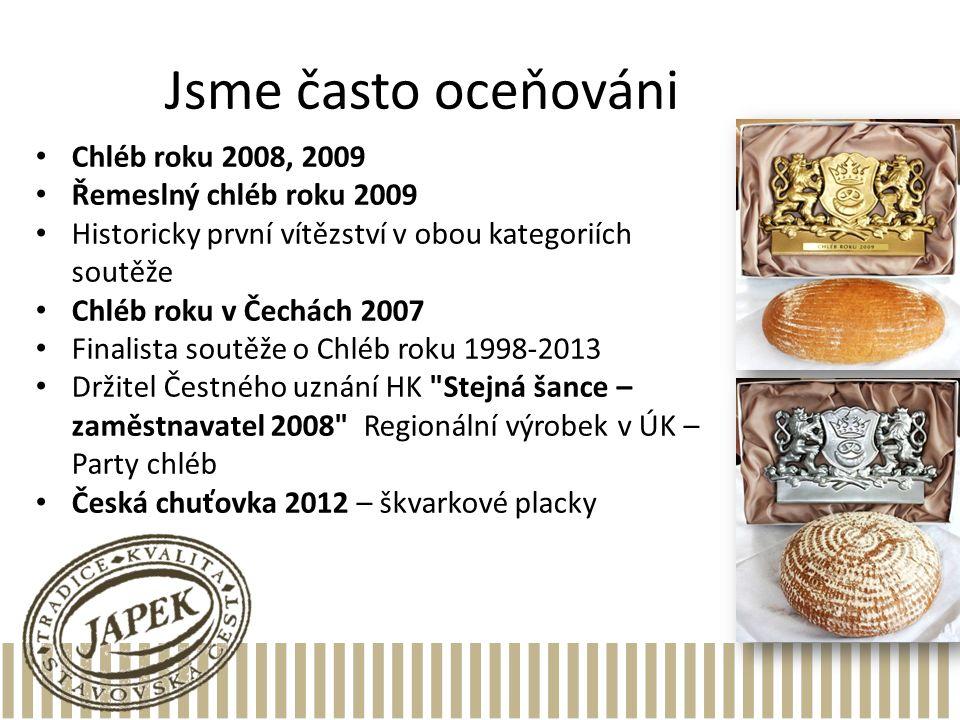 Jsme často oceňováni Chléb roku 2008, 2009 Řemeslný chléb roku 2009 Historicky první vítězství v obou kategoriích soutěže Chléb roku v Čechách 2007 Fi