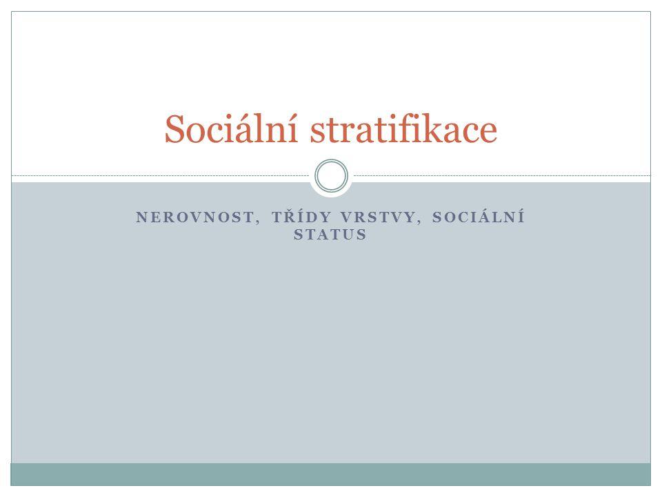 NEROVNOST, TŘÍDY VRSTVY, SOCIÁLNÍ STATUS Sociální stratifikace