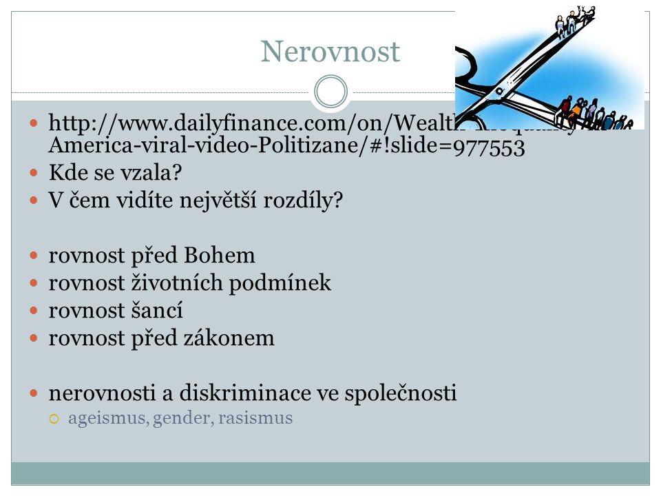 Nerovnost http://www.dailyfinance.com/on/Wealth-Inequality-in- America-viral-video-Politizane/#!slide=977553 Kde se vzala.
