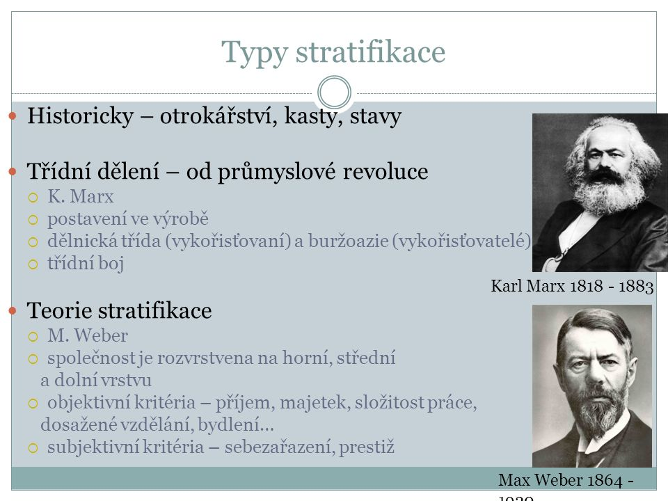 Typy stratifikace Historicky – otrokářství, kasty, stavy Třídní dělení – od průmyslové revoluce  K.