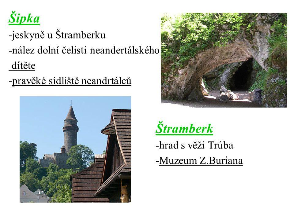 Šipka -jeskyně u Štramberku -nález dolní čelisti neandertálského dítěte -pravěké sídliště neandrtálců Štramberk -hrad s věží Trúba -Muzeum Z.Buriana