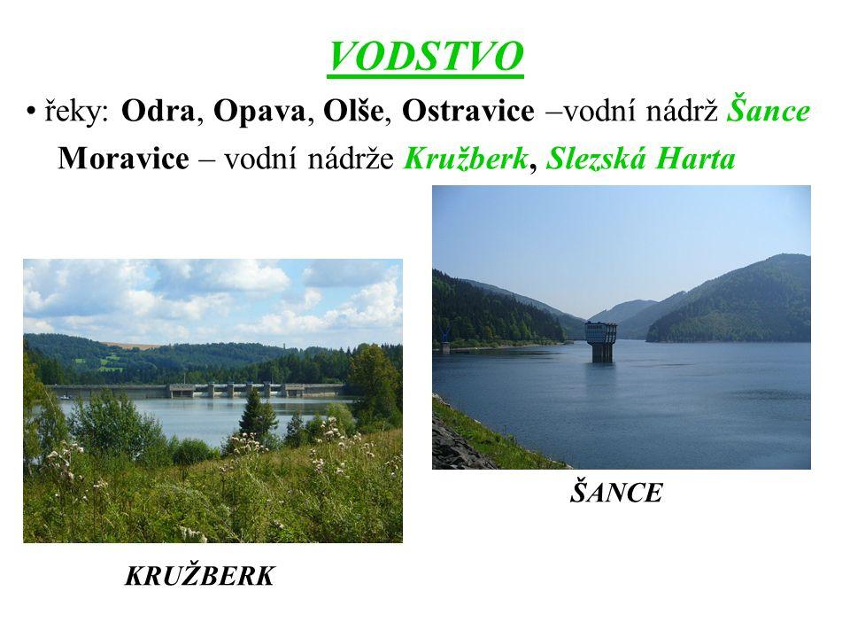 VODSTVO řeky: Odra, Opava, Olše, Ostravice –vodní nádrž Šance Moravice – vodní nádrže Kružberk, Slezská Harta ŠANCE KRUŽBERK