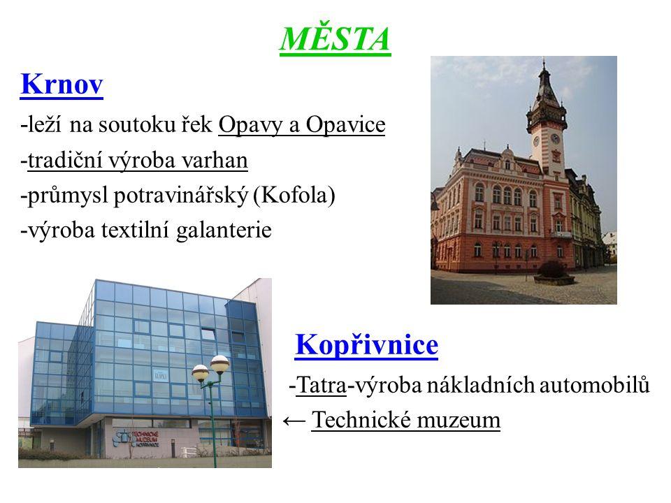 MĚSTA Krnov - leží na soutoku řek Opavy a Opavice -tradiční výroba varhan -průmysl potravinářský (Kofola) -výroba textilní galanterie Kopřivnice -Tatr