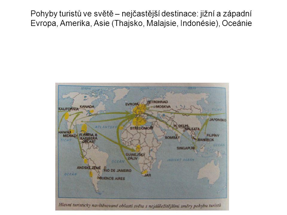 Pohyby turistů ve světě – nejčastější destinace: jižní a západní Evropa, Amerika, Asie (Thajsko, Malajsie, Indonésie), Oceánie