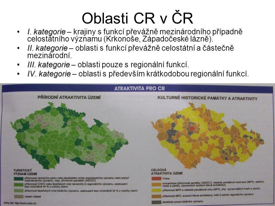Oblasti CR v ČR I. kategorieI.
