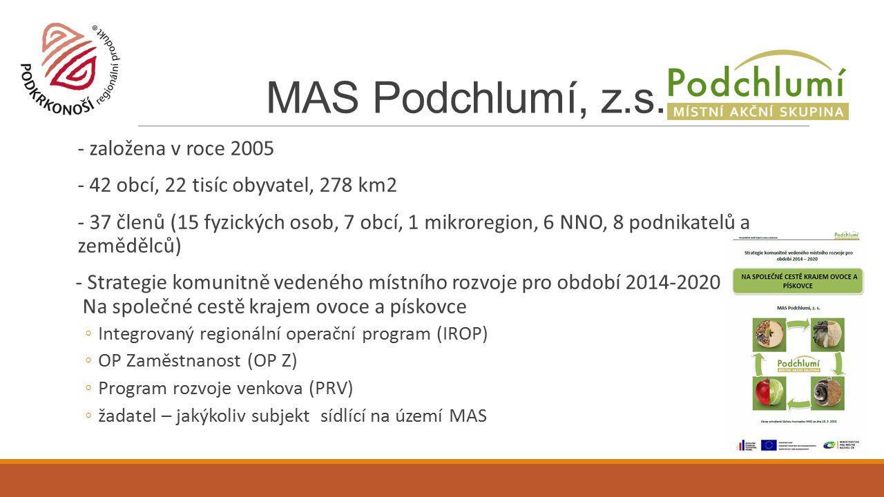 - založena v roce 2005 - 42 obcí, 22 tisíc obyvatel, 278 km2 - 37 členů (15 fyzických osob, 7 obcí, 1 mikroregion, 6 NNO, 8 podnikatelů a zemědělců) - Strategie komunitně vedeného místního rozvoje pro období 2014-2020 Na společné cestě krajem ovoce a pískovce ◦Integrovaný regionální operační program (IROP) ◦OP Zaměstnanost (OP Z) ◦Program rozvoje venkova (PRV) ◦žadatel – jakýkoliv subjekt sídlící na území MAS