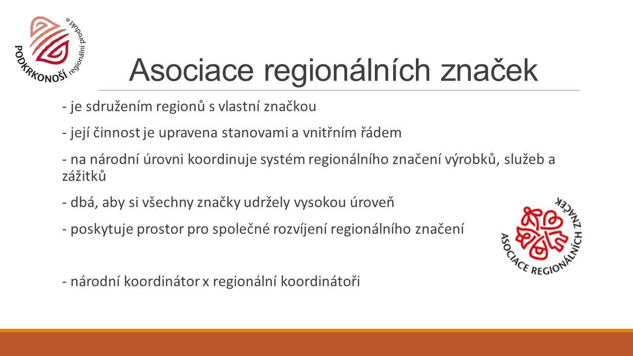 Asociace regionálních značek - je sdružením regionů s vlastní značkou - její činnost je upravena stanovami a vnitřním řádem - na národní úrovni koordinuje systém regionálního značení výrobků, služeb a zážitků - dbá, aby si všechny značky udržely vysokou úroveň - poskytuje prostor pro společné rozvíjení regionálního značení - národní koordinátor x regionální koordinátoři