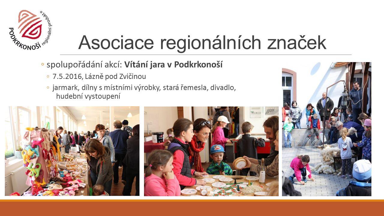 Asociace regionálních značek ◦spolupořádání akcí: Vítání jara v Podkrkonoší ◦7.5.2016, Lázně pod Zvičinou ◦jarmark, dílny s místními výrobky, stará řemesla, divadlo, hudební vystoupení