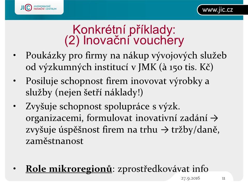 Konkrétní příklady: (2) Inovační vouchery Poukázky pro firmy na nákup vývojových služeb od výzkumných institucí v JMK (à 150 tis.