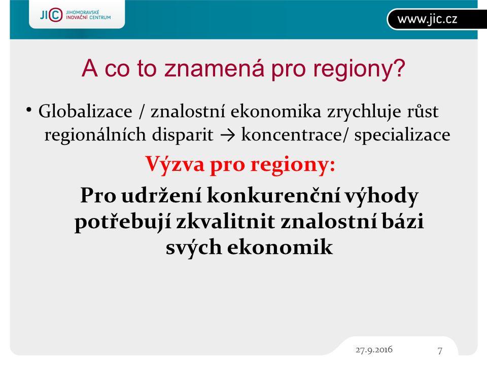 A co to znamená pro regiony.