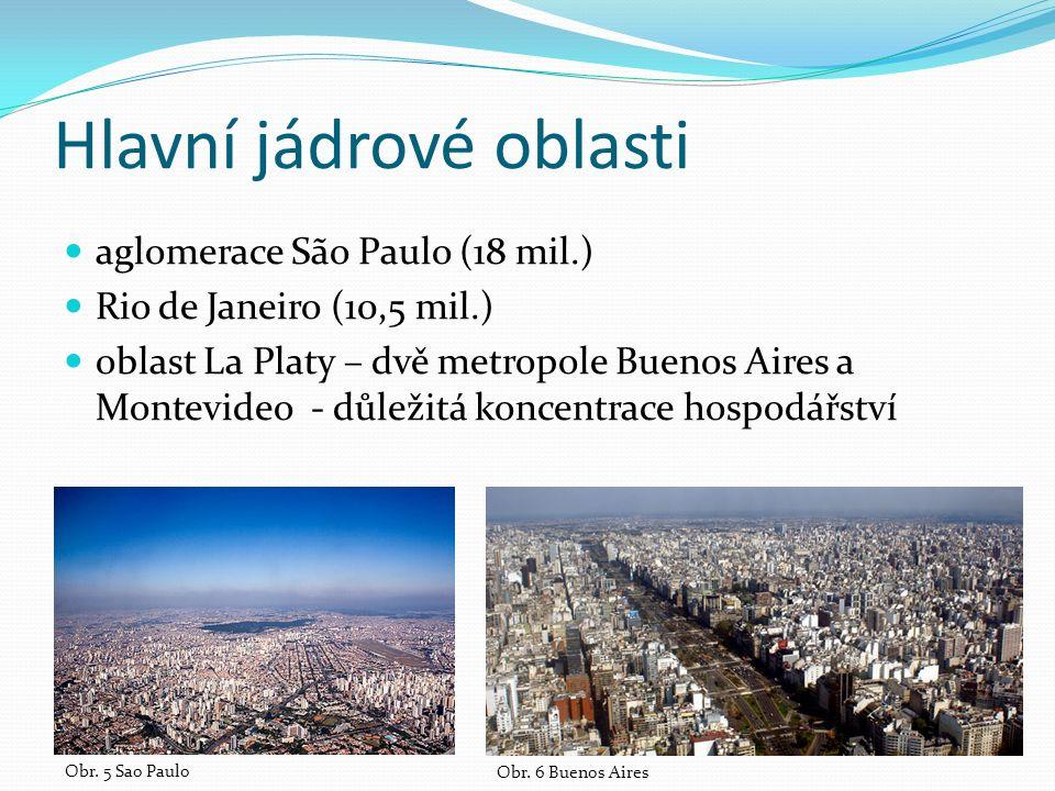 Hlavní jádrové oblasti aglomerace São Paulo (18 mil.) Rio de Janeiro (10,5 mil.) oblast La Platy – dvě metropole Buenos Aires a Montevideo - důležitá koncentrace hospodářství Obr.