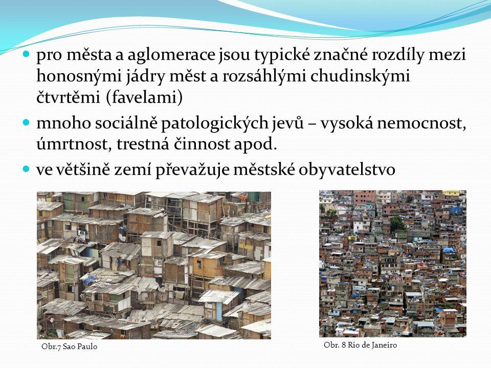 pro města a aglomerace jsou typické značné rozdíly mezi honosnými jádry měst a rozsáhlými chudinskými čtvrtěmi (favelami) mnoho sociálně patologických jevů – vysoká nemocnost, úmrtnost, trestná činnost apod.