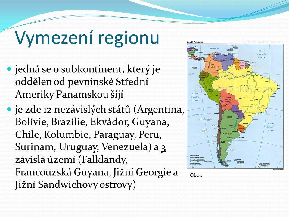 Vymezení regionu jedná se o subkontinent, který je oddělen od pevninské Střední Ameriky Panamskou šíjí je zde 12 nezávislých států (Argentina, Bolívie, Brazílie, Ekvádor, Guyana, Chile, Kolumbie, Paraguay, Peru, Surinam, Uruguay, Venezuela) a 3 závislá území (Falklandy, Francouzská Guyana, Jižní Georgie a Jižní Sandwichovy ostrovy) Obr.