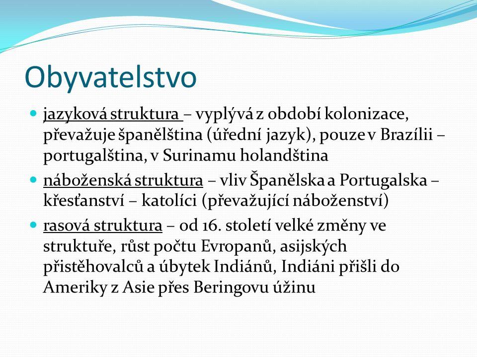 Obyvatelstvo jazyková struktura – vyplývá z období kolonizace, převažuje španělština (úřední jazyk), pouze v Brazílii – portugalština, v Surinamu holandština náboženská struktura – vliv Španělska a Portugalska – křesťanství – katolíci (převažující náboženství) rasová struktura – od 16.