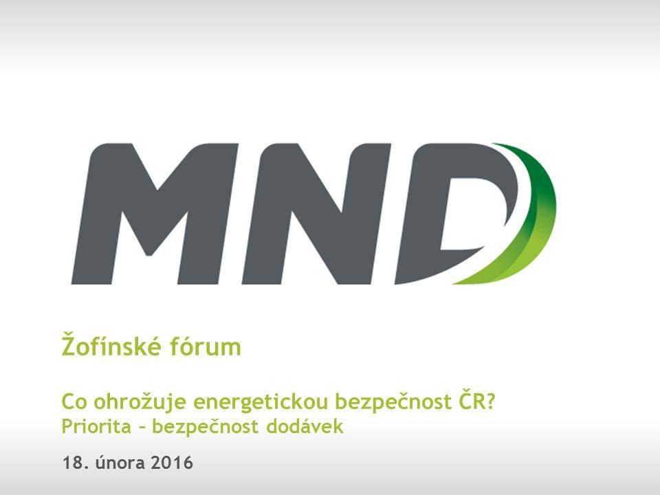 Žofínské fórum Co ohrožuje energetickou bezpečnost ČR? Priorita – bezpečnost dodávek 18. února 2016
