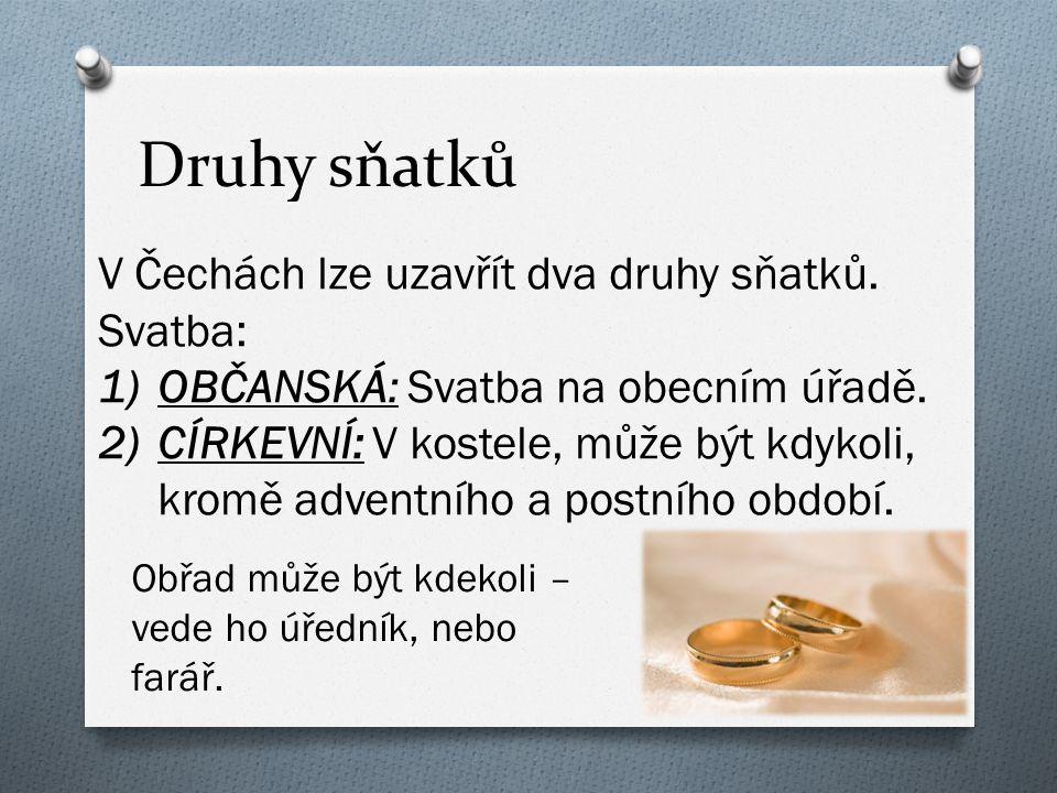 Druhy sňatků V Čechách lze uzavřít dva druhy sňatků.
