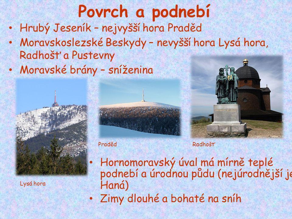 Povrch a podnebí Hrubý Jeseník – nejvyšší hora Praděd Moravskoslezské Beskydy – nevyšší hora Lysá hora, Radhošť a Pustevny Moravské brány – sníženina