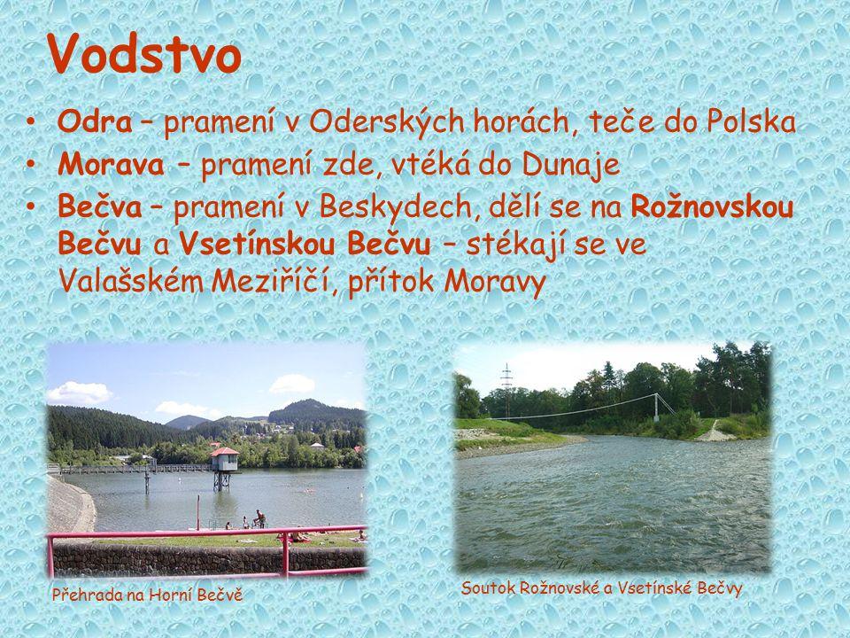 Vodstvo Odra – pramení v Oderských horách, teče do Polska Morava – pramení zde, vtéká do Dunaje Bečva – pramení v Beskydech, dělí se na Rožnovskou Beč