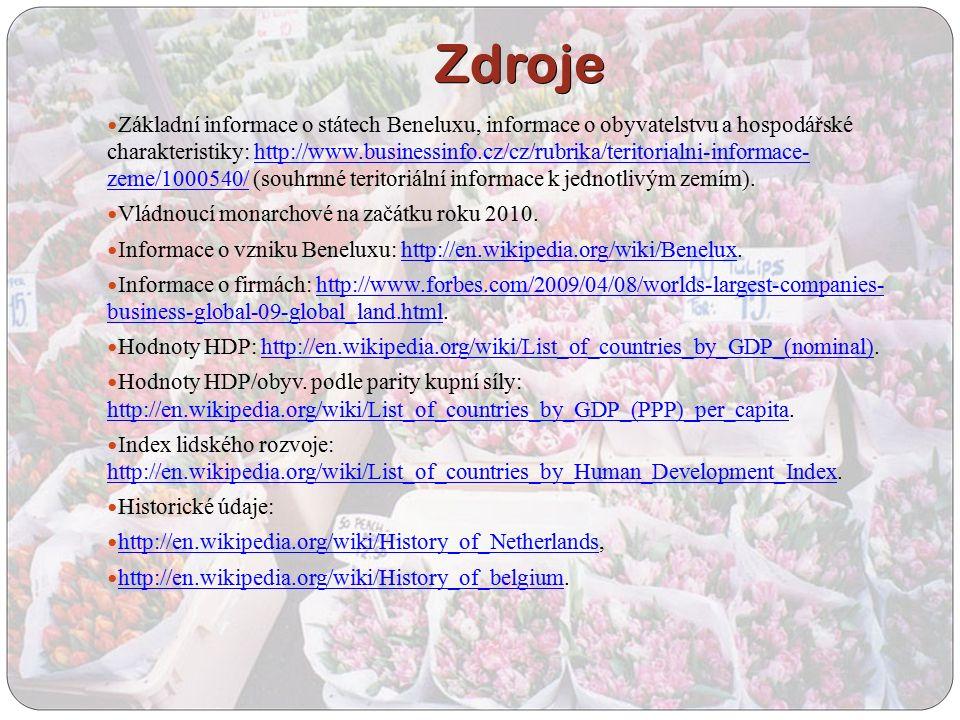 Zdroje Základní informace o státech Beneluxu, informace o obyvatelstvu a hospodářské charakteristiky: http://www.businessinfo.cz/cz/rubrika/teritorial
