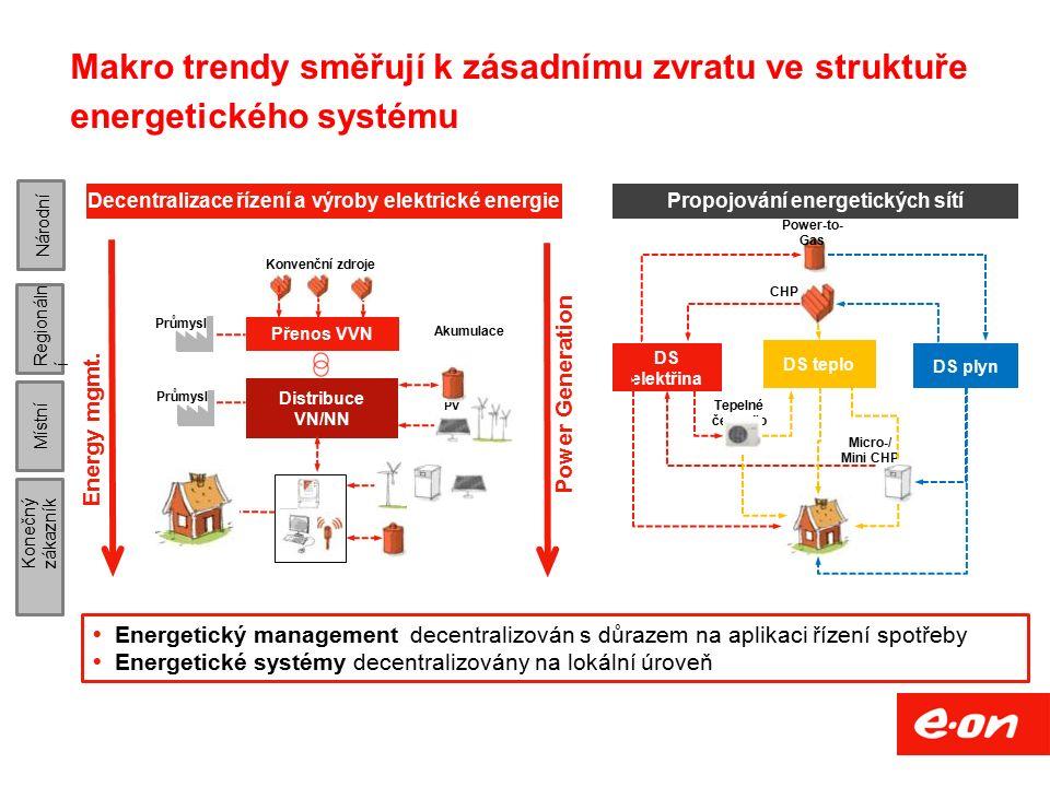 Projekt NAP SG (Národní akční plán Smart Grids) 4 - vytvořit koncepci rozvoje inteligentních systémů a prvků v energetice ČR, - vytvořit časový plán přípravy a realizace navrhovaných kroků a opatření ve vazbě na aktualizovanou Státní energetickou koncepci, Cílem rozvoje inteligentních sítí/systémů je ekonomicky efektivním a společensky přijatelným způsobem - reagovat na rozvoj decentralizovaných systémů výroby elektřiny a kombinovaných energetických systémů, - zajistit udržení spolehlivosti provozu sítí a ES ČR v měnících se podmínkách struktury výroby a spotřeby, - umožnit účastníkům trhu s elektřinou, plynem a teplem efektivní účast na tomto trhu.