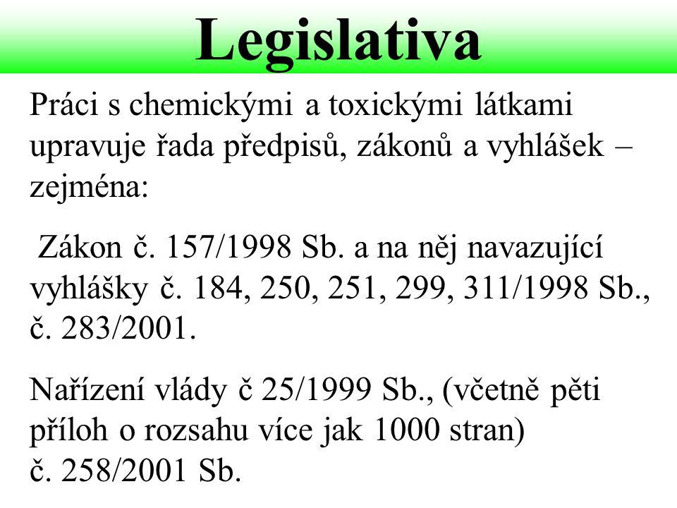 Legislativa Práci s chemickými a toxickými látkami upravuje řada předpisů, zákonů a vyhlášek – zejména: Zákon č. 157/1998 Sb. a na něj navazující vyhl