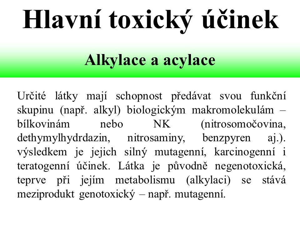 Určité látky mají schopnost předávat svou funkční skupinu (např. alkyl) biologickým makromolekulám – bílkovinám nebo NK (nitrosomočovina, dethymylhydr