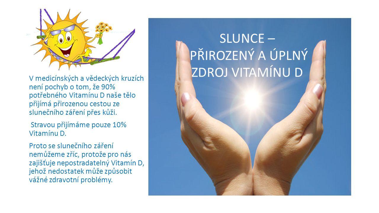 V medicínských a vědeckých kruzích není pochyb o tom, že 90% potřebného Vitamínu D naše tělo přijímá přirozenou cestou ze slunečního záření přes kůži.