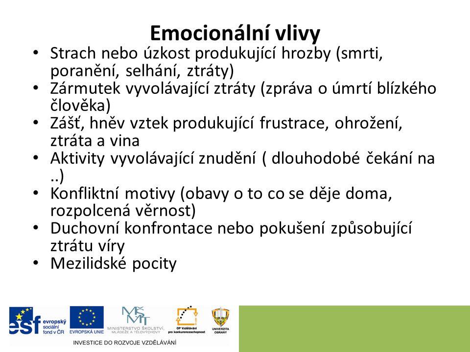 Emocionální vlivy Strach nebo úzkost produkující hrozby (smrti, poranění, selhání, ztráty) Zármutek vyvolávající ztráty (zpráva o úmrtí blízkého člově