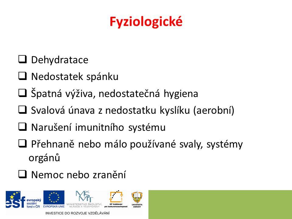 Fyziologické  Dehydratace  Nedostatek spánku  Špatná výživa, nedostatečná hygiena  Svalová únava z nedostatku kyslíku (aerobní)  Narušení imunitn