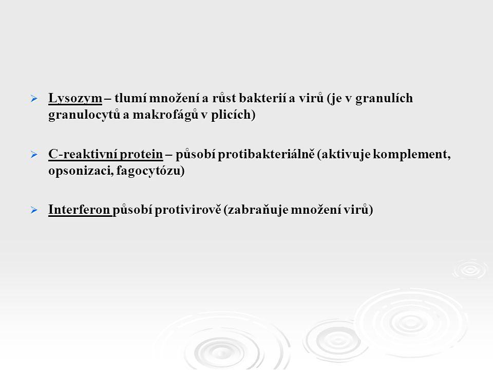  Lysozym – tlumí množení a růst bakterií a virů (je v granulích granulocytů a makrofágů v plicích)  C-reaktivní protein – působí protibakteriálně (aktivuje komplement, opsonizaci, fagocytózu)  Interferon působí protivirově (zabraňuje množení virů)