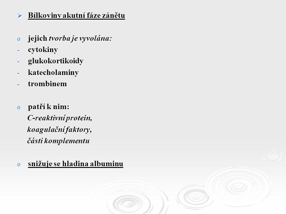  Bílkoviny akutní fáze zánětu o jejich tvorba je vyvolána: - cytokiny - glukokortikoidy - katecholaminy - trombinem o patří k nim: C-reaktivní protein, C-reaktivní protein, koagulační faktory, koagulační faktory, části komplementu části komplementu o snižuje se hladina albuminu