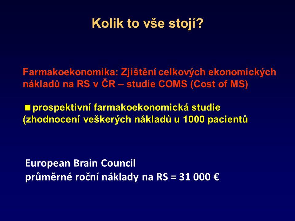 Farmakoekonomika: Zjištění celkových ekonomických nákladů na RS v ČR – studie COMS (Cost of MS)  prospektivní farmakoekonomická studie (zhodnocení veškerých nákladů u 1000 pacientů European Brain Council průměrné roční náklady na RS = 31 000 € Kolik to vše stojí