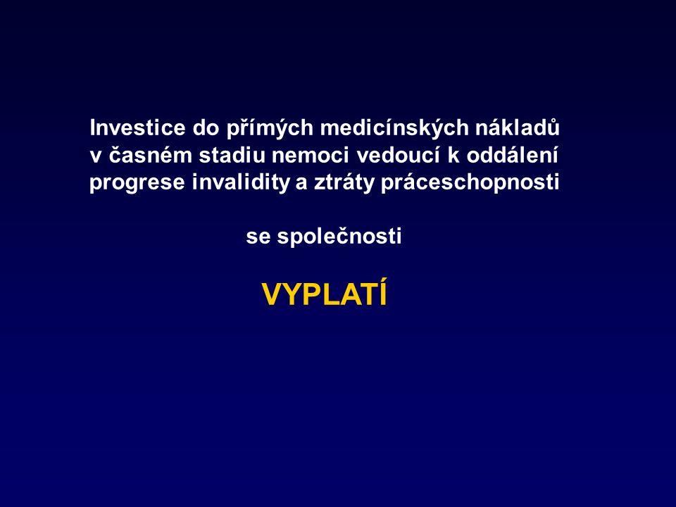 Investice do přímých medicínských nákladů v časném stadiu nemoci vedoucí k oddálení progrese invalidity a ztráty práceschopnosti se společnosti VYPLATÍ