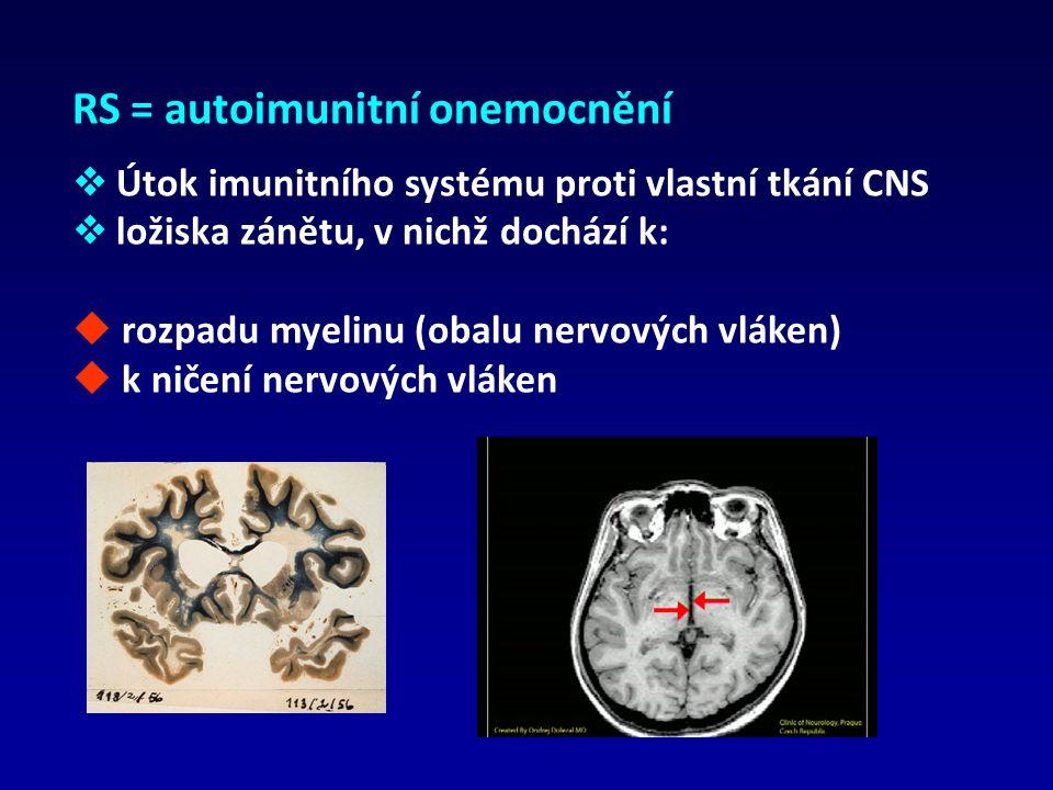 RS = autoimunitní onemocnění  Útok imunitního systému proti vlastní tkání CNS  ložiska zánětu, v nichž dochází k:  rozpadu myelinu (obalu nervových vláken)  k ničení nervových vláken