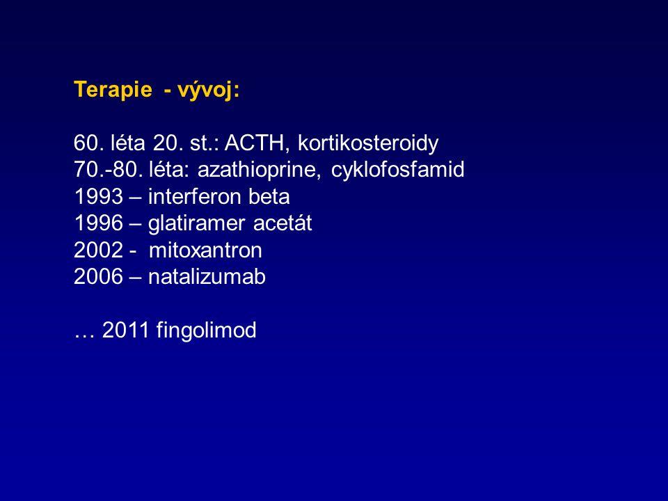 Terapie - vývoj: 60. léta 20. st.: ACTH, kortikosteroidy 70.-80.
