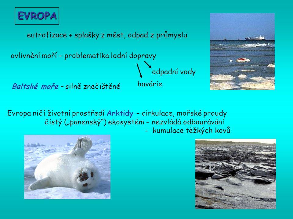"""Evropa ničí životní prostředí Arktidy – cirkulace, mořské proudy čistý (""""panenský ) ekosystém – nezvládá odbourávání - kumulace těžkých kovů EVROPA eutrofizace + splašky z měst, odpad z průmyslu ovlivnění moří – problematika lodní dopravy havárie odpadní vody Baltské moře – silně znečištěné"""