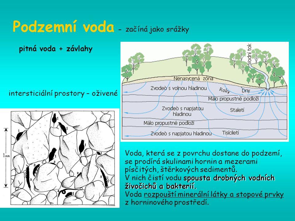 Podzemní voda - začíná jako srážky pitná voda + závlahy intersticiální prostory – oživené Voda, která se z povrchu dostane do podzemí, se prodírá skulinami hornin a mezerami písčitých, štěrkových sedimentů.