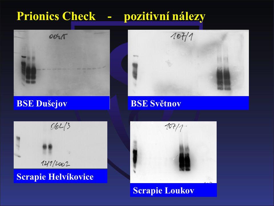 Prionics Check - pozitivní nálezy BSE DušejovBSE Světnov Scrapie Helvíkovice Scrapie Loukov