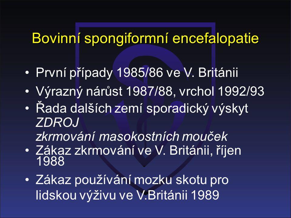 Bovinní spongiformní encefalopatie První případy 1985/86 ve V. Británii Výrazný nárůst 1987/88, vrchol 1992/93 Řada dalších zemí sporadický výskyt ZDR