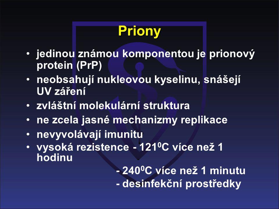 Priony jedinou známou komponentou je prionový protein (PrP) neobsahují nukleovou kyselinu, snášejí UV záření zvláštní molekulární struktura ne zcela jasné mechanizmy replikace nevyvolávají imunitu vysoká rezistence - 121 0 C více než 1 hodinu - 240 0 C více než 1 minutu - desinfekční prostředky