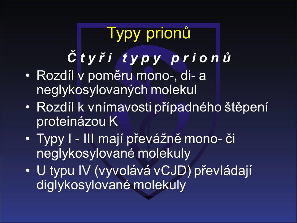 Typy prionů Č t y ř i t y p y p r i o n ů Rozdíl v poměru mono-, di- a neglykosylovaných molekul Rozdíl k vnímavosti případného štěpení proteinázou K Typy I - III mají převážně mono- či neglykosylované molekuly U typu IV (vyvolává vCJD) převládají diglykosylované molekuly