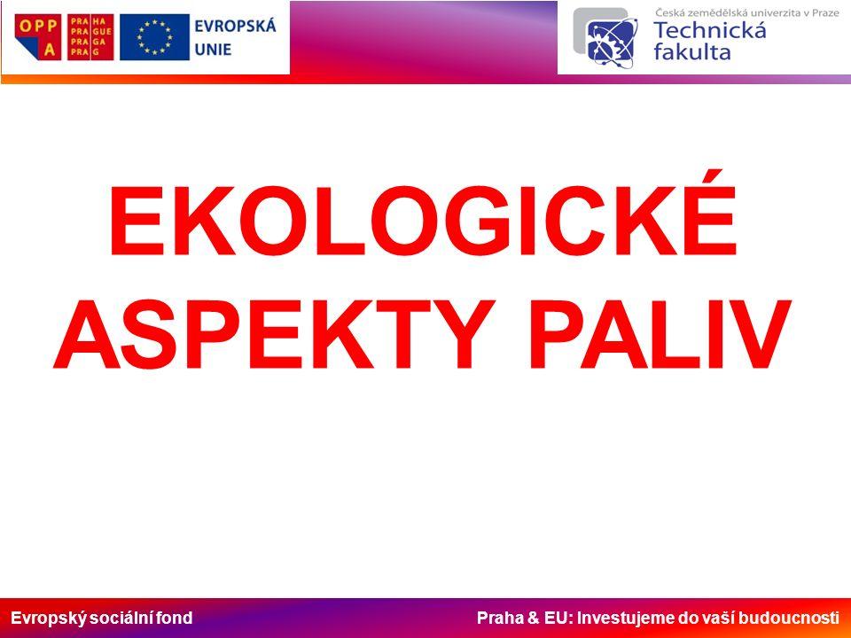 Evropský sociální fond Praha & EU: Investujeme do vaší budoucnosti EKOLOGICKÉ ASPEKTY PALIV