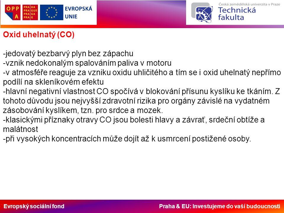 Evropský sociální fond Praha & EU: Investujeme do vaší budoucnosti Oxid uhelnatý (CO) -jedovatý bezbarvý plyn bez zápachu -vznik nedokonalým spalování