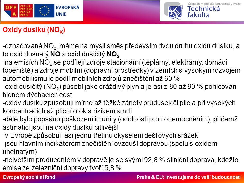 Evropský sociální fond Praha & EU: Investujeme do vaší budoucnosti Oxidy dusíku (NO X ) -označované NO x, máme na mysli směs především dvou druhů oxidů dusíku, a to oxid dusnatý NO a oxid dusičitý NO 2 -na emisích NO x se podílejí zdroje stacionární (teplárny, elektrárny, domácí topeniště) a zdroje mobilní (dopravní prostředky) v zemích s vysokým rozvojem automobilismu je podíl mobilních zdrojů znečištění až 60 % -oxid dusičitý (NO 2 ) působí jako dráždivý plyn a je asi z 80 až 90 % pohlcován hlenem dýchacích cest -oxidy dusíku způsobují mírné až těžké záněty průdušek či plic a při vysokých koncentracích až plicní otok s rizikem smrti -dále bylo popsáno poškození imunity (odolnosti proti onemocněním), přičemž astmatici jsou na oxidy dusíku citlivější -v Evropě způsobují asi jednu třetinu okyselení dešťových srážek -jsou hlavním indikátorem znečištění ovzduší dopravou (spolu s oxidem uhelnatým) -největším producentem v dopravě je se svými 92,8 % silniční doprava, kdežto emise ze železniční dopravy tvoří 5,8 %